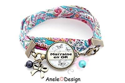 Bracelet pour marraine - papillon bleu fleurs cabochon perle bleue
