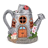 Christow Solar Powered Fairy House LED Watering Can Garden Light Outdoor Ornament Silver