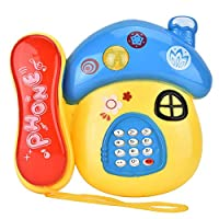 VGEBY Telephone Toy, Electronic Educational Baby Cartoon Phone Toy with Music Light Kids Pretend Play Toys
