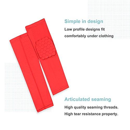 Veni Masee Armmanschette mit Ellenbogenpolster für Sport zum Schutz / Unterstützung, 1 Stück rot - rot