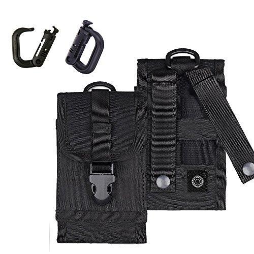 MOLLE Tactical Tasche Armee Taille Handy Tasche für iPhone 7Plus Android W/Bonus Gürtelclip Grimloc Locking D-Ring, schwarz