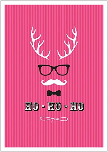 (Erhältlich im 1er 4er 8er Set: Ho, Ho, Ho Moderne Coole lustige Hipster Weihnachkarte Klappgrußkarte Gutschein mit Hirschgeweih, Brille, Fliege und Schnurrbart in Pink mit Umschlag (8))