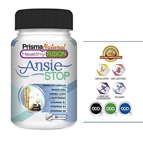 ANSIESTOP - Con Triptófano, Pasiflora, Lúpulo, Verbena y Vitaminas B1, B3 y B6 - Combate los...