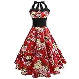 Vintage Sommerkleid Frauen SUNNSEAN Damen Drucken Gürtel Großes Pendel Kleid Hepburn Halterkleid Elegante Kleider Lässig Ärmellos Kleider Strandkleider (L, Rot)