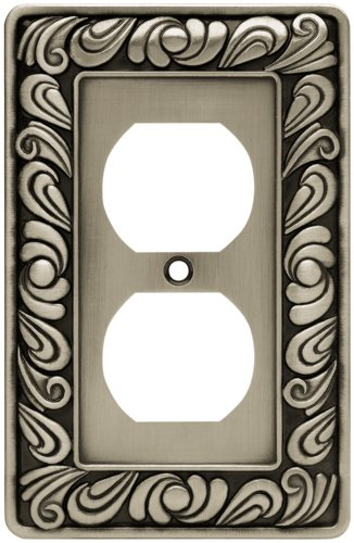 Franklin Brass 64044 Paisley Single Duplex Outlet Wall Plate / Switch Plate / Cover, Brushed Satin Pewter by Brainerd - Brainerd Paisley Single