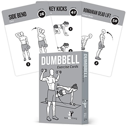 Haltère Cartes d'exercice Home Gym exercices de musculation de construction musculaire Total Body Fitness Guide exercices bodybuilding Personal Trainer Grande Plastique étanche 8,9 x 12,7 cm ou 88 mm x 126 mm