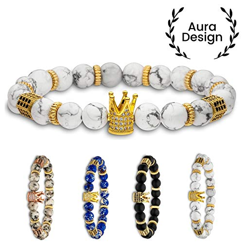 Aura Design Krone Armband - King Crown - Perlenarmband - für Damen & Herren - Königsarmband - Naturperlen - kraftvolles Design - Weiß & Gold - [8 mm Perlen] & [19,5 cm Umfang] ...
