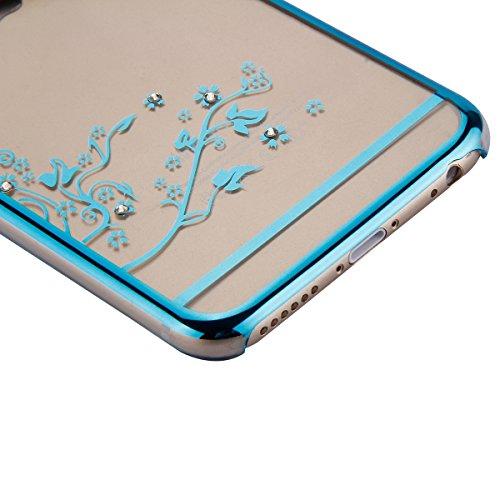 iPhone 6S / 6 Hülle (4,7 Zoll),iPhone 6S Hülle,iPhone 6 Hülle,Tasche für iPhone 6 / 6S,ikasus® Schutzhülle für iPhone 6 / 6S Silikon Hülle [Kristallklar Durchsichtig],Malerei Muster Stoßdämpfend Trans Blumen Schmetterling:Blau