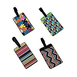 Vikenner 4 Pcs PVC Luggage Tags Travel Suitcase Labels Business ID Card Holder - 4 Color