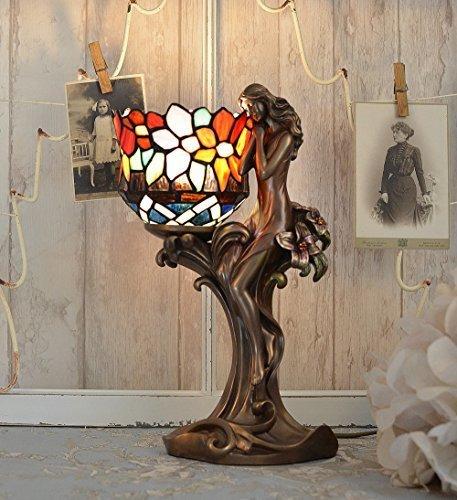 Antike Tiffany-tisch-lampe (Tiffany Lampe Jugendstil Tischleuchte Frauenfigur Tischlampe Antik Palazzo Exklusiv)