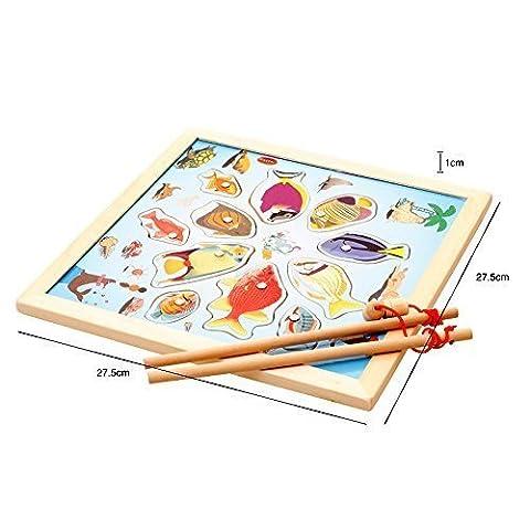 11-teiliges Fische Grundbildungsentwicklung aus Holz Magnetic Bad Angeln Hubtabelle Spiel, Geburtstagsgeschenk Spielzeug für Alter 3 4 5 Jahre altes Kind Baby Kleinkind Jungen Mädchen Magnet Spielzeug