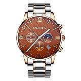Kashidun Herren-Handgelenk Quarz Uhren CLASSIC Schweizer Uhr Fall Box Stahl Band für men-brown. zh-jzg