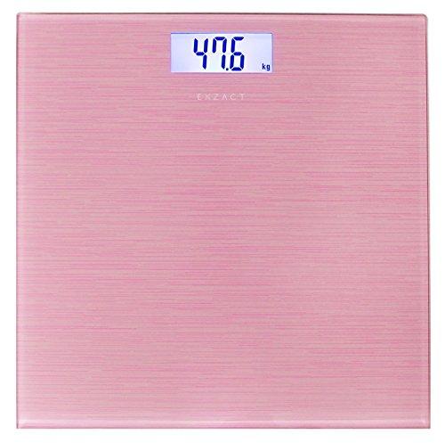 EXZACT – Personenwaage/ Elektronische Körperwaage / Digitale Badezimmerwaage - Große Kapazität 180kg / 400lb / 28st - Hohe Präzision, Schritt-auf, Hintergrundbeleuchtung LCD-Anzeige - Schlank - Farbige Glasplattform (Metallisches Rosa)