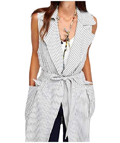CuteRose Womens Open-Front Vests Striped Waistcoat Pocket Mid-Long Trench White M Outdoor Research-womens Vest