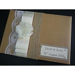 Libro de invitados para boda, diseño de flores, de satén, encaje, personalizado