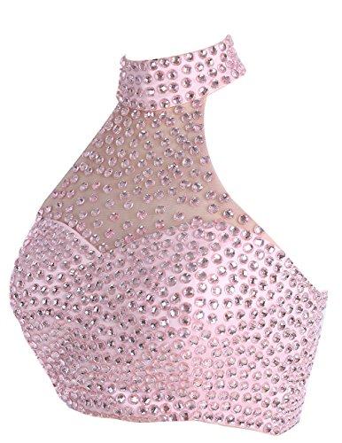 Dresstells Robe courte de soirée de cocktail Robe de bal emperlée deux pièces Gris