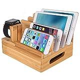 Xphonew legno di bambù multi-dispositivo Holder desktop dock station caricabatterie supporto compatibile iPhone XS max XR x 8766S Plus iPad Mini Pro Air Apple Watch/iWatch 234Samsung smartphone
