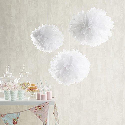 9er Set Seidenpapier PomPoms weiß rosa crème Hochzeit Party Deko Lights4fun