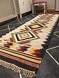 Second Nature Buxoro Geometrische Wolle Kelim Läufer Teppich Multi Farbe (Fair Trade) 75cm x 240cm