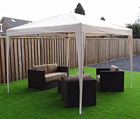 Foldable Gazebo Pavilion Party Tent | 300 x 300 cm | Square | Sand / Beige | SORARA | 16 kg (UV 50+)| Event Outdoor Event Outdoor Camping Garden Shelter Easy Up