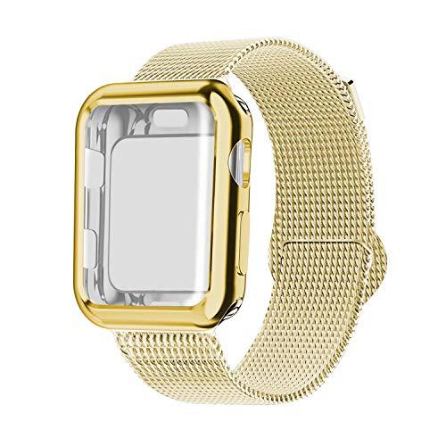 INZAKI Kompatibel für Apple Watch Armband mit Hülle 42mm, Edelstahl Netz Milanese Schlaufen Armband mit Displayschutz Schlankes case für iWatch Series 3/2 / 1, Sport, Edition,Gold
