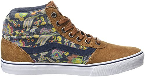 Vans Milton Hi, Sneakers Hautes Femme Marron (MTE Flower Suede brown)