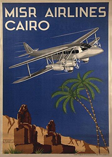 Vintage de aviación y viajes Egipto MISR AIRLINES Cairo c1935reproducción de aviación Póster en 200gsm A3satén (bajo brillo) tarjeta de arte