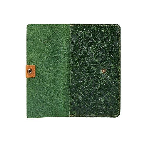Genda 2Archer Vera Pazzesco del Cuoio di Cavallo Portafoglio Fiore Figura Borsa per le Donne (10.5 cm* 1cm * 17.5cm) (Marrone) Verde