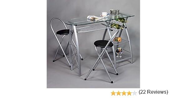 Küchenbar Mit 2 Stühlen, Glasplatte: Amazon.De: Küche & Haushalt