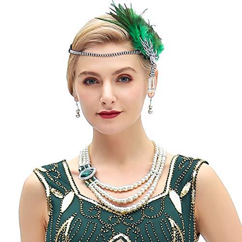Metme Damen 1920s Stirnband Pfau Feder 20er Jahre Stil Flapper Haarband Inspiriert von Great Gatsby Damen Kostüm Accessoires (Grün Feder)