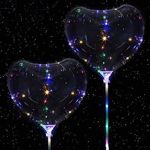 SUNRIZ Leutende Luftballons, LED Bobo Transparente Herzform Ballons Party Blinklicht Ballons Einzigartig Party Ballons, Perfekt Dekoration für Valentinstag,Hochzeit,Urlaub, 2PCS