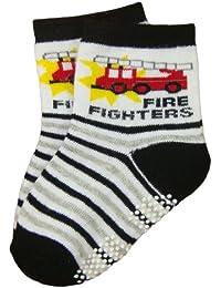 BOMIO | ABS Socken in farbenfrohem Design Feuerwehrmann | Antirutsch Baby-Söckchen aus hautfreundlichem Material | Stoppersocken | Hervorragende Passform