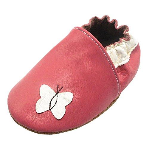 Happy Kids Baby Krabbelschuhe Schmetterling Babyschuhe Mädchen Lederschuhe Weiche Sohle Baby Mokassins(12-18 Monat, Pink)