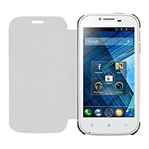 Acm Leather Diary Folio Flip Flap Case For Lenovo A706 Mobile Front & Back Cover White