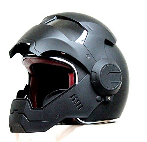 2017 Top Heißer Black Iron Man Helm Motorrad Helm Halb Helm Offenen Gesicht Helm Casque Motocross GRÖßE: S M L XL XXL,Black-L - 3