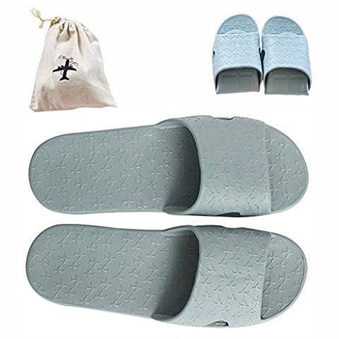 Flodable pour Trip Slip on Chaussons avec un sac de rangement en lin gratuit antidérapant Douche Sandales Maison Mule léger piscine Chaussures de salle de bain Slide, gris