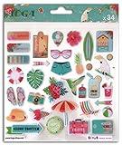 Toga Tropical Paradise AX084, Lot de 34 Stickers, Plastique, Multicolore, 15 x 15 x 0.3 cm