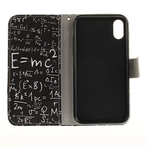 Apple iPhone X hülle, Voguecase Kunstleder Tasche PU Schutzhülle Tasche Leder Brieftasche Hülle Case Cover (Mathematik Formel) + Gratis Universal Eingabestift Mathematik Formel