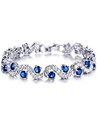 Yellow Chimes Rich Royal Blue Crystal High Grade CZ Chain Silver Bracelet For Women and Girls. Perfect to Gift!