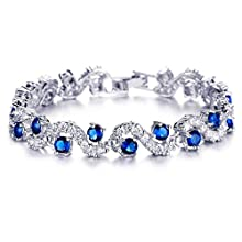 Yellow Chimes Rich Royal Blue Crystal High Grade Cz Chain Bracelet For Women