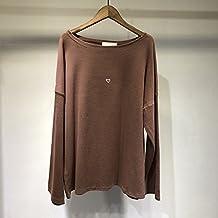 SANMULYH T-Shirt, T-Shirt, T-Shirt A Maniche Lunghe Poco Amore E Perdono La T-Shirt,Caffè,F