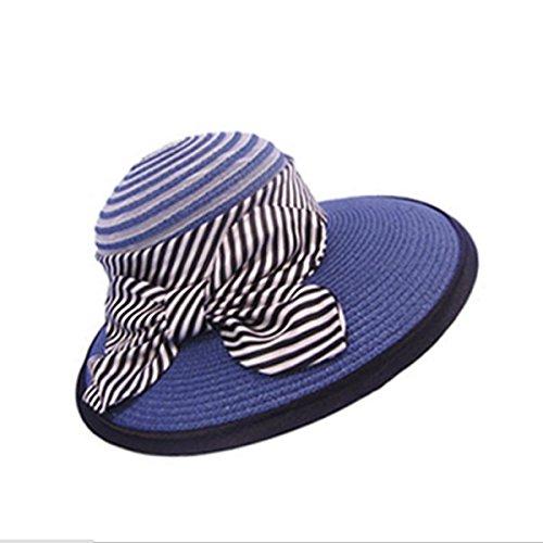 Mme été En Plein Air Chapeau De Soleil Chapeau De Soleil UV Chapeau De Soleil Chapeau De Paille Bow blue