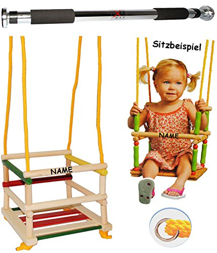 Preisvergleich Produktbild Schaukel aus Holz + Türreck - incl. Name - Gitterschaukel / Kinderschaukel - leichter Einstieg ! - mitwachsend & verstellbar - Babyschaukel - Kleinkindschaukel verstellbar - Holzschaukel Baby Kinder - Holzgitterschaukel für Innen und Außen - mit Sicherheitsstäben / bunte Stäbe - Holzbabyschaukel - Reck für Türrahmen Befestigung - Stange - Türstange