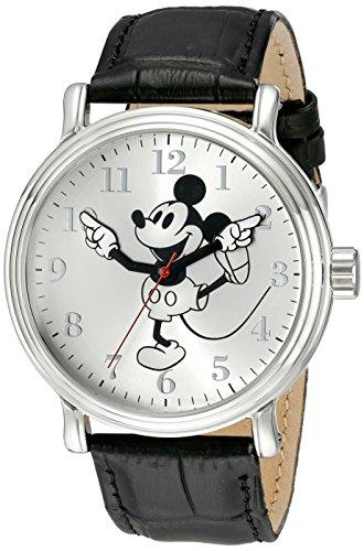 Disney Men's W001862 Mickey Mouse Analog Display Analog Quartz Black Watch (Mickey-mouse-black Watch)