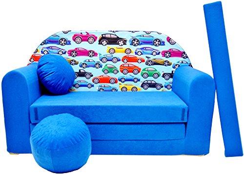 Pro cosmo c21divano letto con pouf/poggiapiedi/cuscino, in tessuto, multicolore, 168x 98x 60cm, per bambini