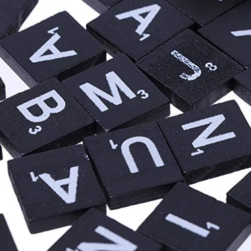 Senoow 100 Stücke Holz Alphabet Scrabble Fliesen Schwarz Buchstaben Für Handwerk Holz Verschönerung