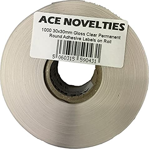30mm Round Clear Permanent Adhesive Sticker Seals (1000)