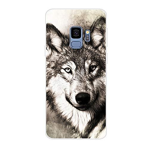 ... Galaxy S9 Hülle Silikon, Transparent TPU Silikonhülle Handyhülle  Kratzfest Durchsichtige Stylisch Muster Design Robust Leicht Case -  Heftiger Wolf Kopf 833a9b71df