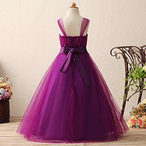 KekeHouse® Mädchen Tüll Maxi Blumenmädchen Kleid Gürtel Kommunikationkleid Hochzeit Fest Kinderkleid mit Reißverschluss Aprikosegelb Purpur Purpur