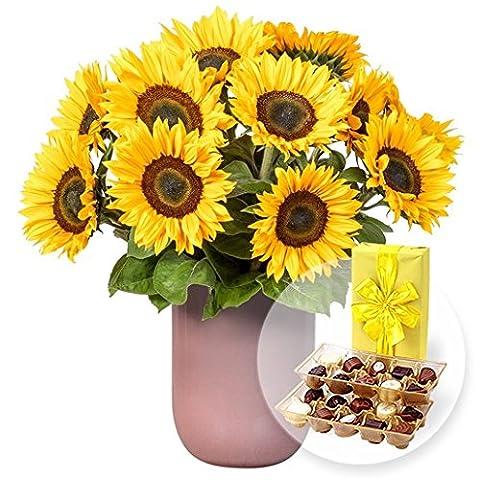 10 Sonnenblumen und Belgische Pralinen